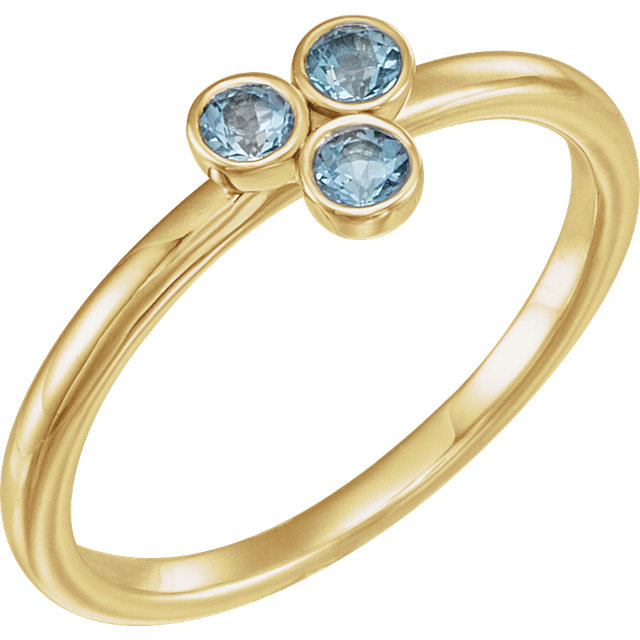 Fine 14 KT Yellow Gold Aquamarine Stackable Ring