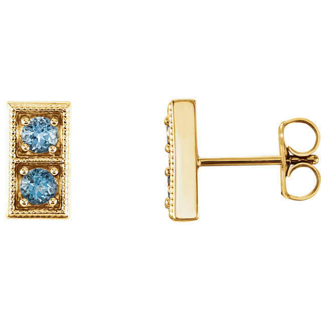 Must See 14 Karat Yellow Gold Aquamarine Two-Stone Earrings