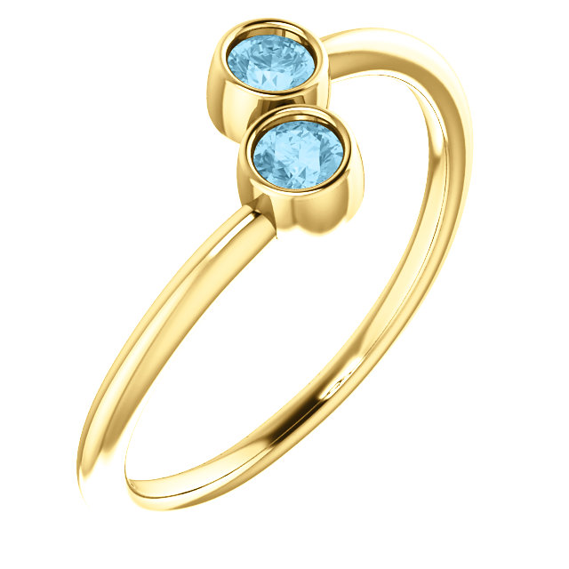 Stunning 14 Karat Yellow Gold Aquamarine Two-Stone Ring