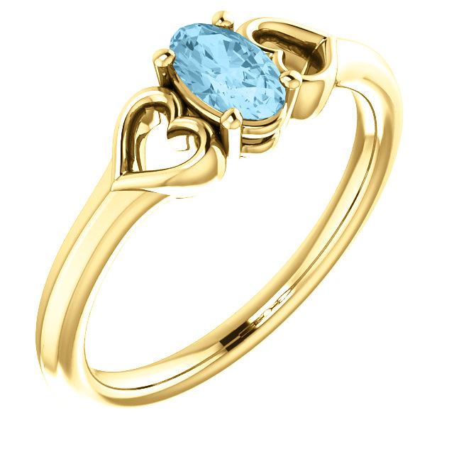 Shop Real 14 KT Yellow Gold Aquamarine Youth Heart Ring