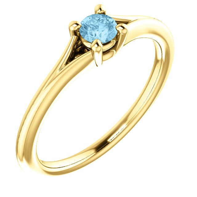 Low Price on Quality 14 KT Yellow Gold Aquamarine Youth Ring