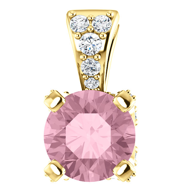 Contemporary 14 Karat Yellow Gold Baby Pink Topaz & 0.10 Carat Total Weight Diamond Pendant