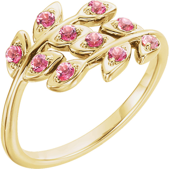 Striking 14 Karat Yellow Gold Round Genuine Baby Pink Topaz Leaf Design Ring