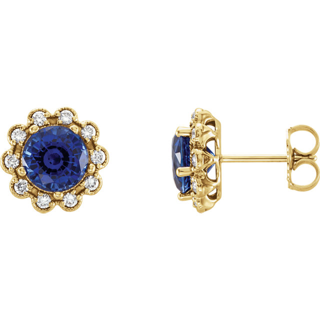 Wonderful 14 Karat Yellow Gold Blue Sapphire & 0.33 Carat Total Weight Diamond Earrings