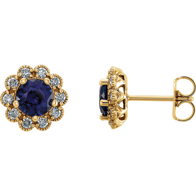Great Deal in 14 Karat Yellow Gold Blue Sapphire & 0.25 Carat Total Weight Diamond Earrings