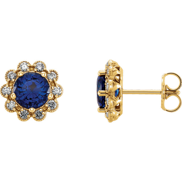 Contemporary 14 Karat Yellow Gold Blue Sapphire & 0.33 Carat Total Weight Diamond Earrings
