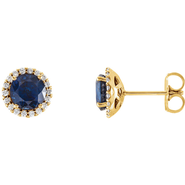 Must See 14 Karat Yellow Gold Blue Sapphire & 0.17 Carat Total Weight Diamond Earrings
