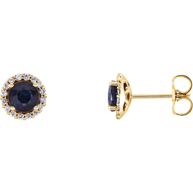 Stunning 14 Karat Yellow Gold Blue Sapphire & 0.17 Carat Total Weight Diamond Earrings
