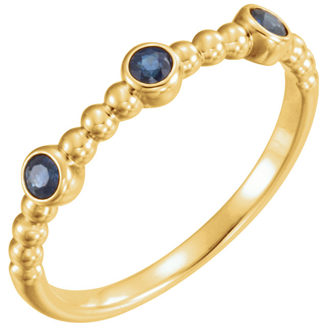 Genuine  14 Karat Yellow Gold Blue Sapphire Beaded Ring