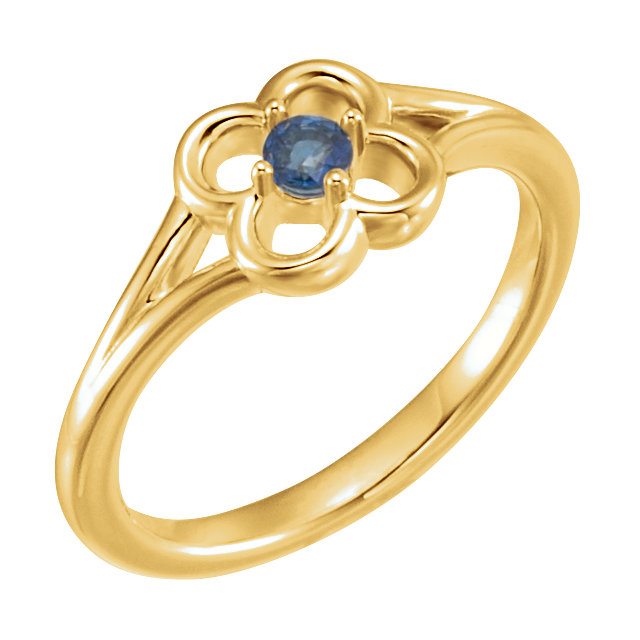 Beautiful 14 Karat Yellow Gold Blue Sapphire Flower Youth Ring
