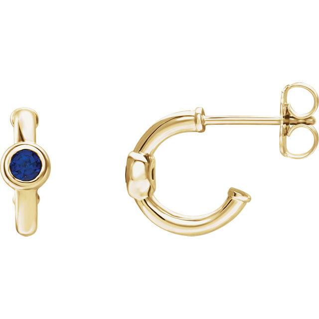 Quality 14 KT Yellow Gold Blue Sapphire J-Hoop Earrings