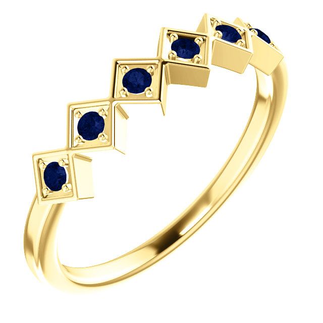 Genuine 14 Karat Yellow Gold Blue Sapphire Stackable Ring