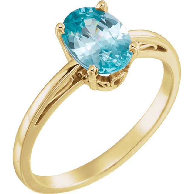 Contemporary 14 Karat Yellow Gold Blue Zircon Ring