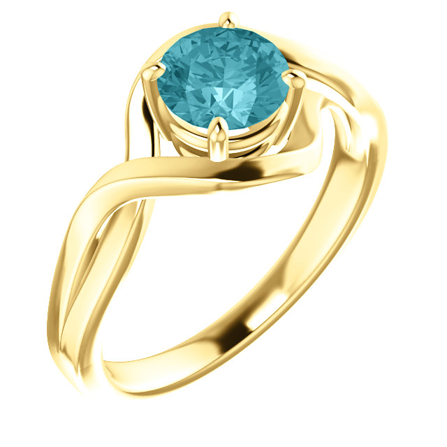 Extraordinary 14 Karat Yellow Gold Round Genuine Blue Zircon Ring