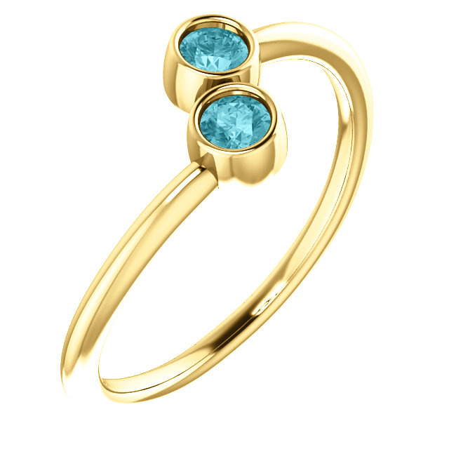 Enchanting 14 Karat Yellow Gold Round Genuine Blue Zircon Two-Stone Ring