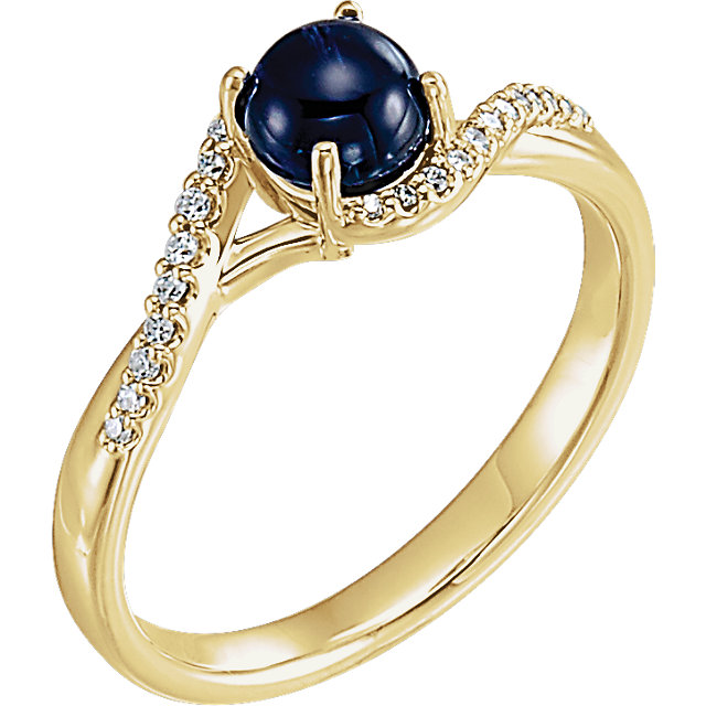 Appealing Jewelry in 14 Karat Yellow Gold Cabochon Blue Sapphire and .08 Carat Total Weight Diamond Ring