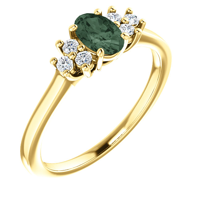 Surprise Her with  14 Karat Yellow Gold Genuine Chatham Created Created Alexandrite & 0.12 Carat Total Weight Diamond Ring