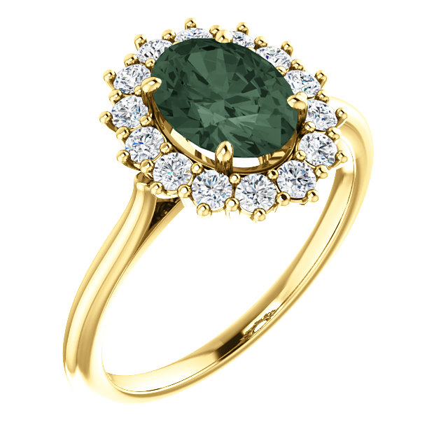 14 Karat Yellow Gold Genuine Chatham Alexandrite & 0.40 Carat  Diamond Ring