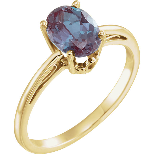Fine Quality 14 Karat Yellow Gold Genuine Chatham Created Created Alexandrite Ring