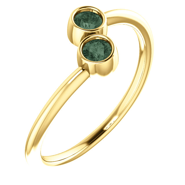 Great Deal in 14 Karat Yellow Gold Genuine Chatham Created Created Alexandrite Two-Stone Ring