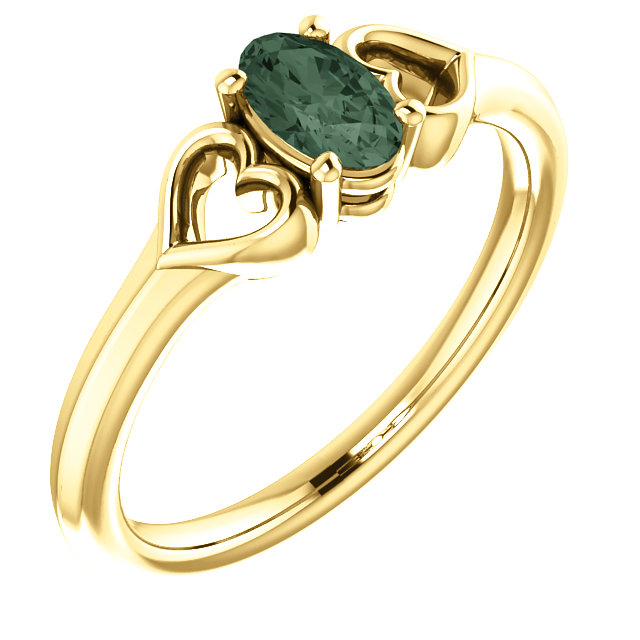 Contemporary 14 Karat Yellow Gold Genuine Chatham Created Created Alexandrite Youth Heart Ring
