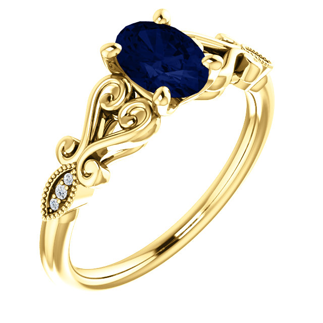 Eye Catching 14 Karat Yellow Gold Chatham Created Oval Blue Sapphire & .02 Carat Total Weight Diamond Ring