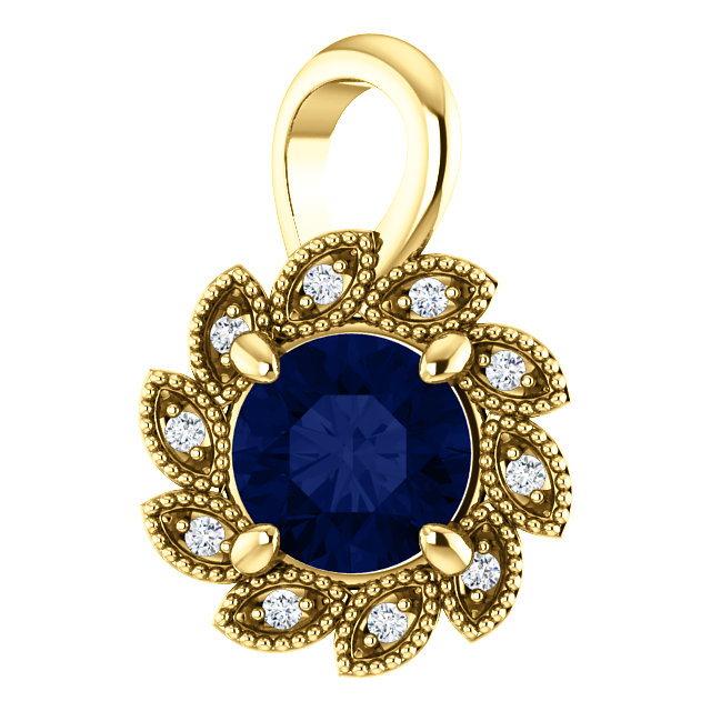 Great Buy in 14 Karat Yellow Gold Genuine Chatham Created Created Blue Sapphire & .04 Carat Total Weight Diamond Pendant
