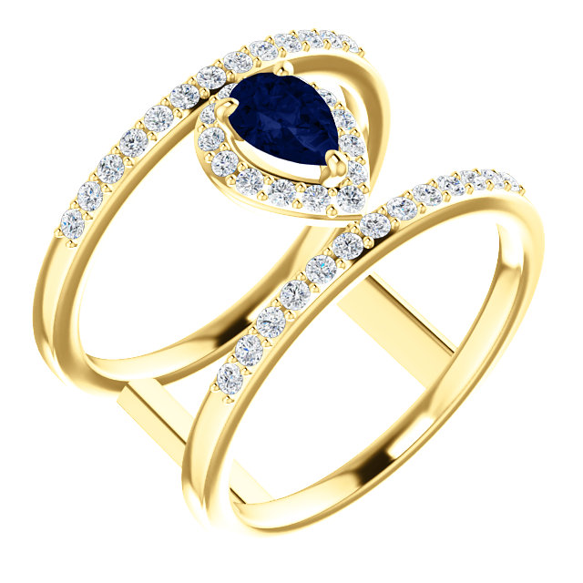 14 Karat Yellow Gold Genuine Chatham Blue Sapphire & 0.33 Carat Diamond Ring