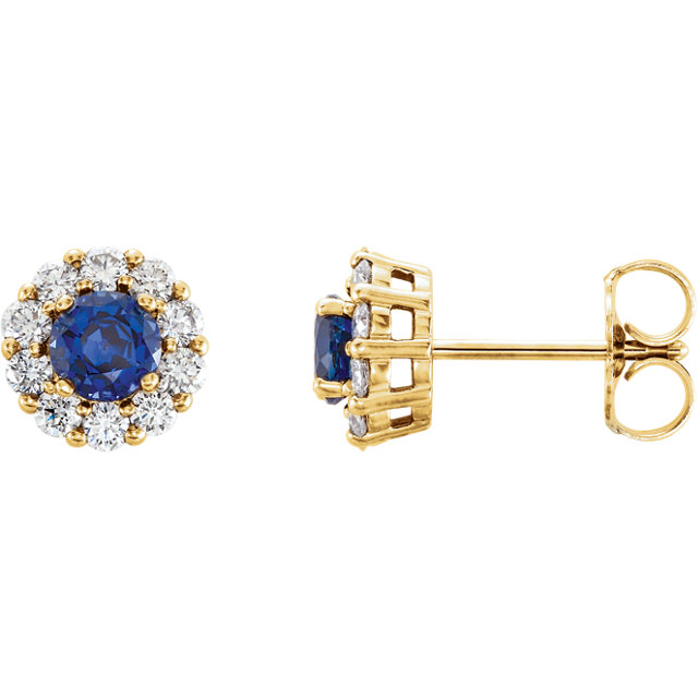 Must See 14 KT Yellow Gold Genuine Chatham Created Created Blue Sapphire & 0.40 Carat TW Diamond Halo-Style Earrings