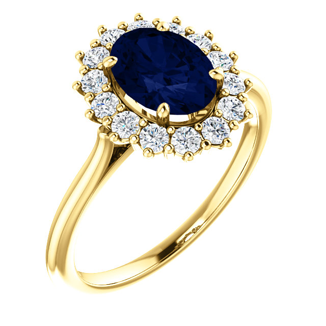 14 Karat Yellow Gold Genuine Chatham Blue Sapphire & 0.40 Carat Diamond Ring
