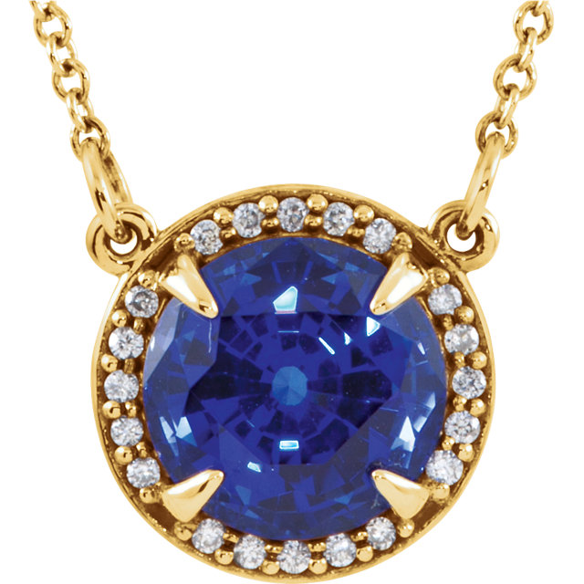 Fine Quality 14 Karat Yellow Gold 7mm Round Genuine Chatham Created Created Blue Sapphire & .04 Carat Total Weight Diamond 16