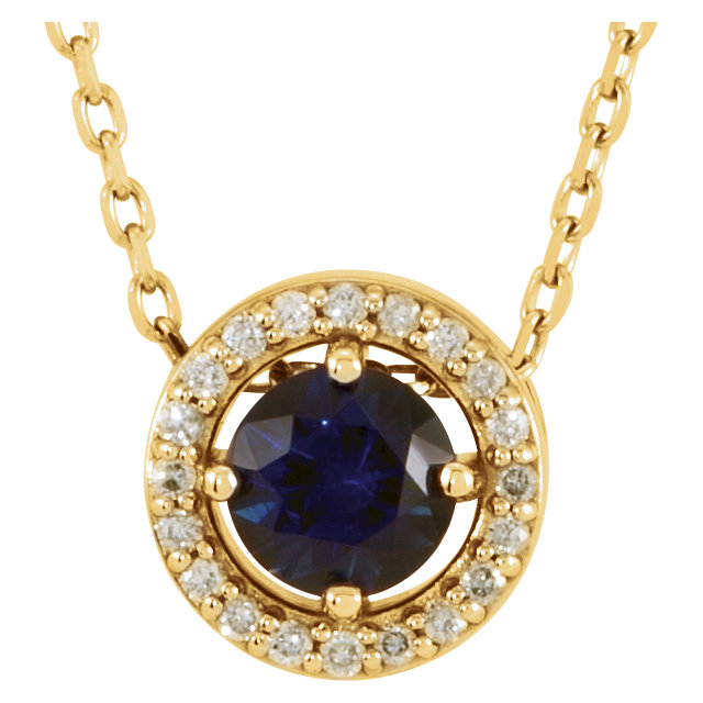 Perfect Jewelry Gift 14 Karat Yellow Gold Genuine Chatham Created Created Blue Sapphire & .05 Carat Total Weight Diamond 16