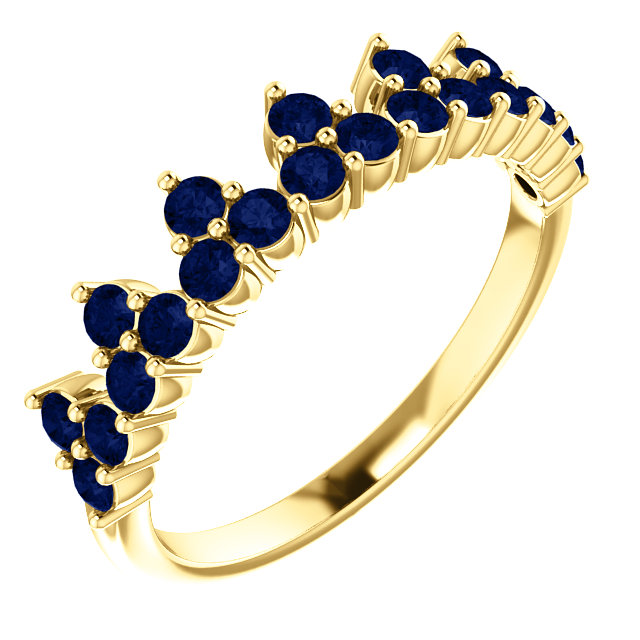 Chic 14 Karat Yellow Gold Genuine Chatham Created Created Blue Sapphire Crown Ring