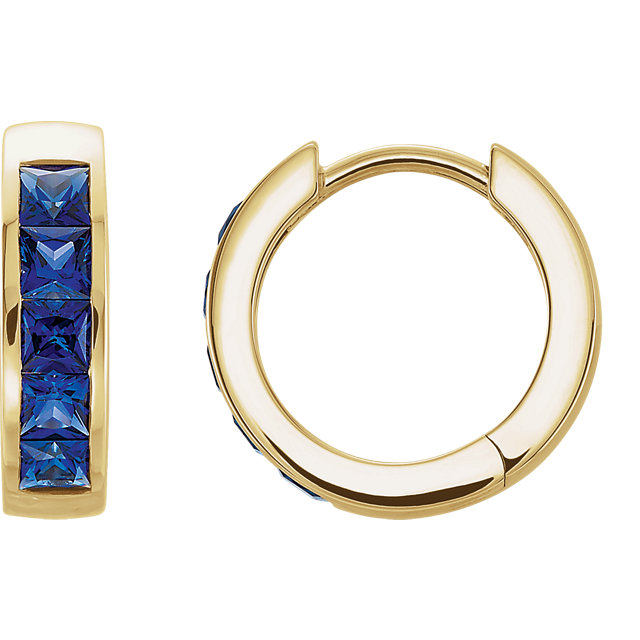 Buy Real 14 KT Yellow Gold Genuine Chatham Created Created Blue Sapphire Hoop Earrings