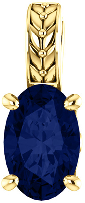 Perfect Jewelry Gift 14 Karat Yellow Gold Genuine Chatham Created Created Blue Sapphire Pendant