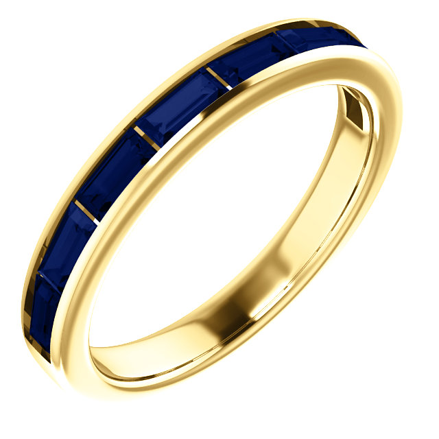 Beautiful 14 Karat Yellow Gold Genuine Chatham Created Created Blue Sapphire Ring