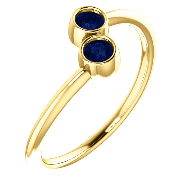 Great Gift in 14 Karat Yellow Gold Genuine Chatham Created Created Blue Sapphire Two-Stone Ring