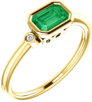 Best 14 KT Yellow Gold Chatham Created Emerald & .02 Carat TW Diamond Ring