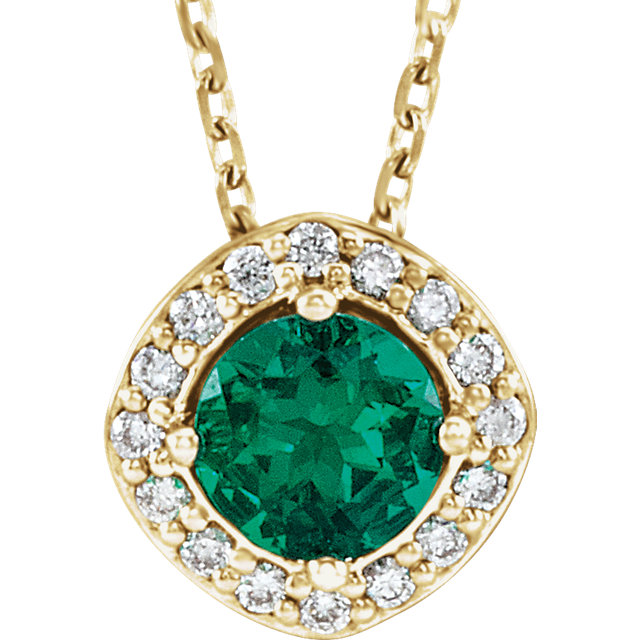 Good Looking 14 Karat Yellow Gold Chatham Created Round Genuine Emerald & .08 Carat Total Weight Diamond Necklace