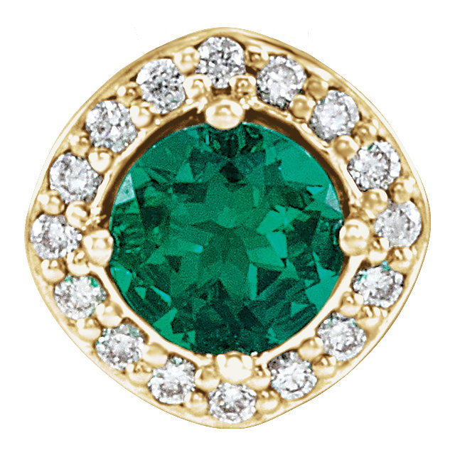 Remarkable 14 Karat Yellow Gold Chatham Created Round Genuine Emerald & .08 Carat Total Weight Diamond Pendant