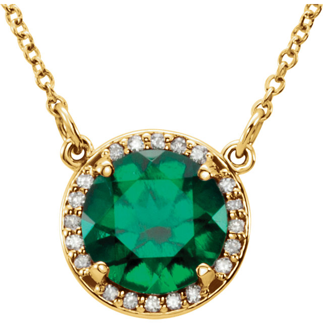 Perfect Gift Idea in 14 Karat Yellow Gold 7mm Round Genuine Chatham Created Created Emerald & .04 Carat Total Weight Diamond 16