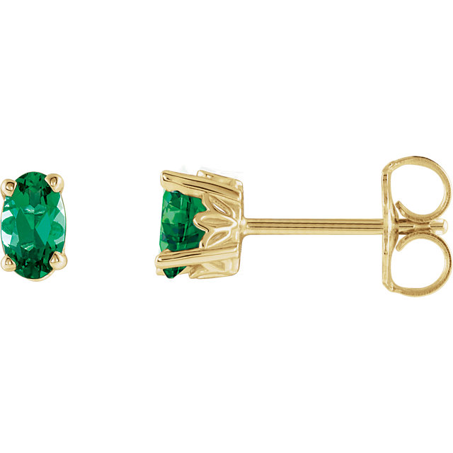 Very Nice 14 Karat Yellow Gold Genuine Chatham Created Created Emerald Earrings