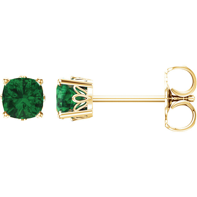 Surprise Her with  14 Karat Yellow Gold Genuine Chatham Created Created Emerald Earrings