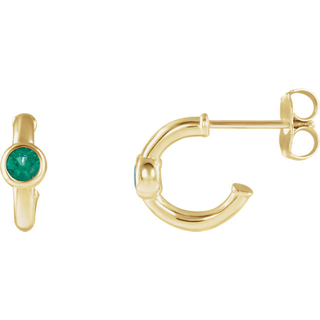 14 KT Yellow Gold Genuine Chatham Created Created Emerald J-Hoop Earrings