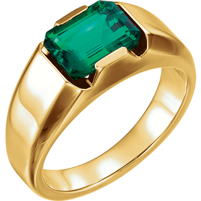 14 Karat Yellow Gold Genuine Chatham Emerald Men's Solitaire Ring