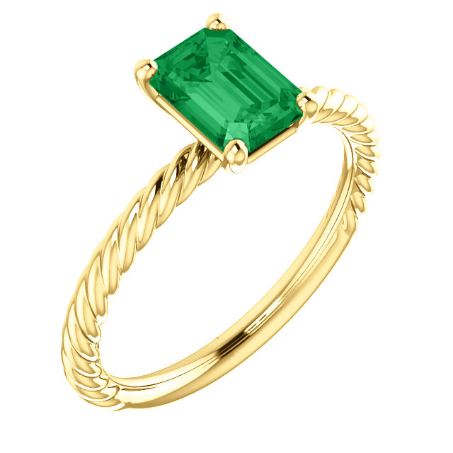 Must See 14 Karat Yellow Gold Genuine Chatham Created Created Emerald Ring