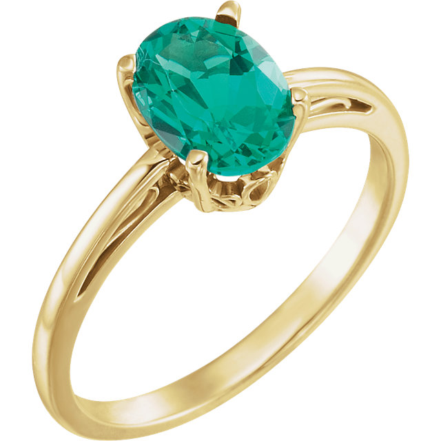 Remarkable 14 Karat Yellow Gold Chatham Created Emerald Ring
