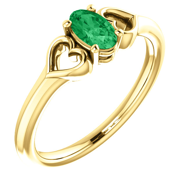 Wonderful 14 Karat Yellow Gold Genuine Chatham Created Created Emerald Youth Heart Ring