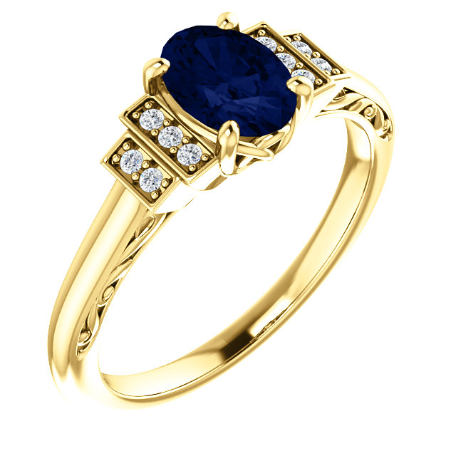 Trendy 14 Karat Yellow Gold Chatham Created Lab-Grown Oval Blue Sapphire & .05 Carat Total Weight Diamond Ring