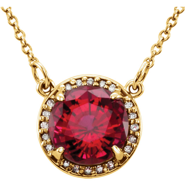 Low Price on Quality 14 KT Yellow Gold 6mm Round Genuine Chatham Created Created Ruby & .04 Carat TW Diamond 16